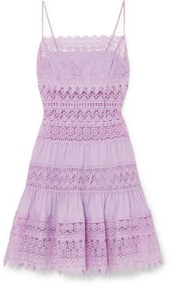 Joya Charo Ruiz Crocheted Lace-paneled Cotton-blend Mini Dress - Lilac