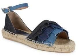 Denim Ruffle Tier Espadrille Sandals