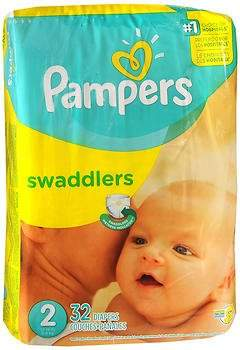 Pampers Swaddlers New Baby Diapers Size 2 - 4 packs of 32, Pack of 3