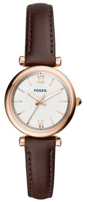 Fossil Carlie Leather Strap Watch, 28mm