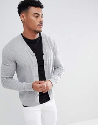 Armani Exchange Cotton Cashmere Cardigan In Gray