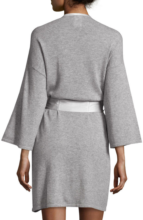 Neiman marcus short silk trimmed cashmere robe shopstyle for Neiman marcus affiliate program