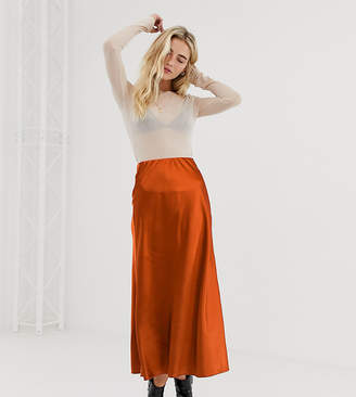 a32ae2168b2d New Look satin bias cut skirt in rust