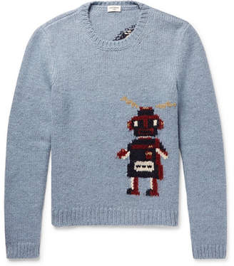 Saint Laurent Robot-Intarsia Wool-Blend Sweater