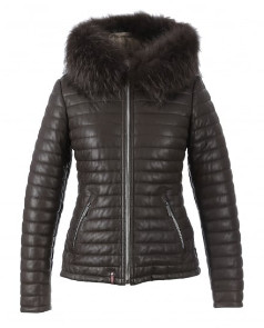 Oakwood Happy Brown Leather Down With Fur Hood Jacket - Small - Black