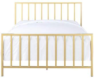 Accentrics Home All-In-One Slat Style Brushed Gold Queen Metal Bed