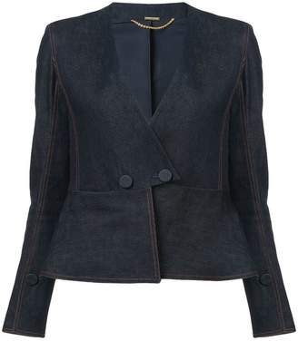 ADAM by Adam Lippes fitted denim peplum blazer