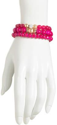 Set Of 3 Pave Fireball Glass Beaded Bracelets