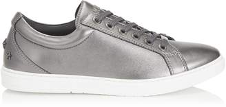 Jimmy Choo CASH Gunmetal Soft Metallic Nappa Leather Low Top Trainers