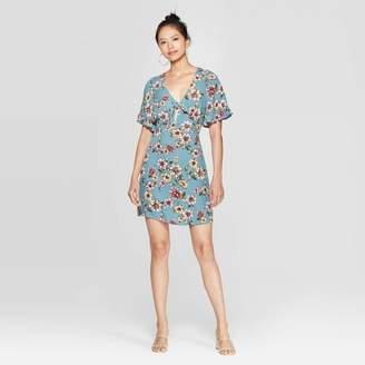 Xhilaration Women's Floral Print Short Sleeve V-Neck Tie Front Mini Dress - XhilarationTM Sky Blue
