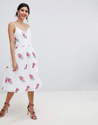 Little Mistress Full Prom Skater Dress In Rose Embroidery