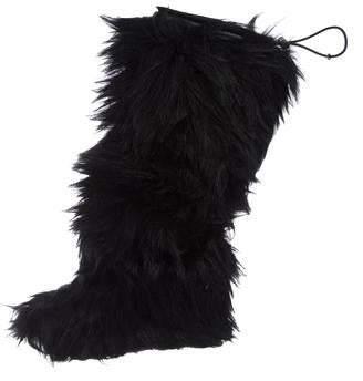 Prada Sport Round-Toe Fur Wedge Boots