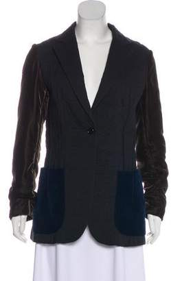 Hache Notch-Lapel Velvet-Trimmed Jacket