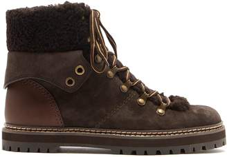 See by Chloe Suede and shearling lace-up ankle boots