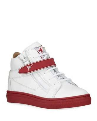 Giuseppe Zanotti London Leather Grip-Strap High-Top Sneakers, Toddler/Kids