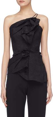 Roland Mouret 'Hankow' folded ruffle organza one-shoulder top