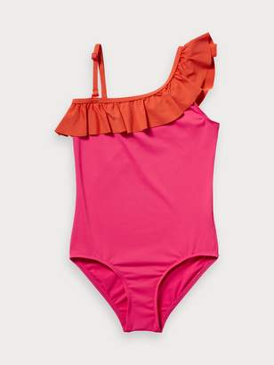 Scotch & Soda One Shoulder Ruffle Swimsuit