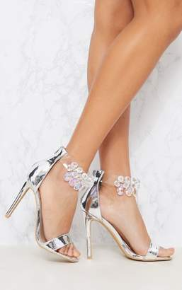 PrettyLittleThing Silver Jewelled Strap Heeled Sandal