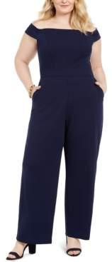 Teeze Me Trendy Plus Size Off-The-Shoulder Jumpsuit