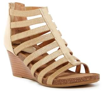 Sofft Mati Caged Leather Wedge Sandal