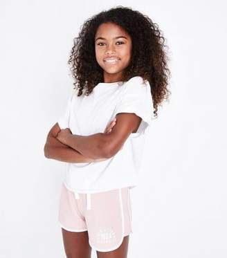 New Look Girls Pale Pink New York Print Shorts