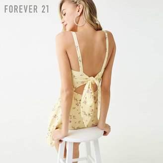 Forever 21 (フォーエバー 21) - Forever 21 バックカットアウトフラワーフレアワンピース