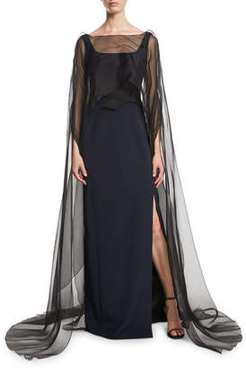 Atelier Caito For Herve Pierre Square-Neck Sleeveless Column Evening Gown w/ Organza Cape