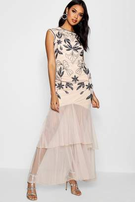 boohoo Boutique Embellished Ruffle Maxi Dress