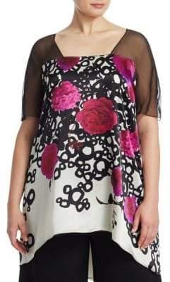 Marina Rinaldi Marina Rinaldi, Plus Size Fanny A-Line Silk Flower Tunic