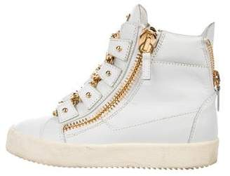Giuseppe Zanotti Zipper Accent Leather High-Top Shoes
