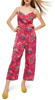 Topshop Sleeveless Floral Jumpsuit