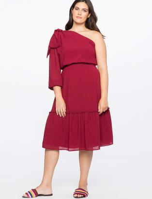 ELOQUII One Shoulder Bow Detail Dress