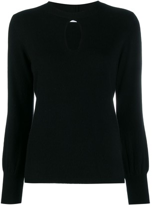 Allude key-hole neckline knitted top