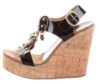 Pedro Garcia Embellished Ankle Strap Wedges w/ Tags
