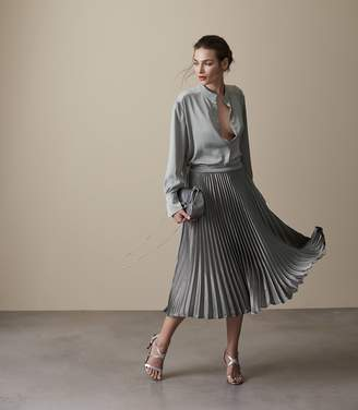 Reiss ALISA METALLIC MIDI SKIRT Pewter
