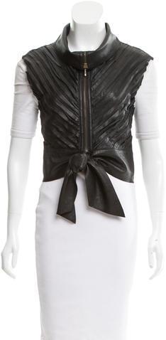 Catherine MalandrinoCatherine Malandrino Leather Pintucked Vest