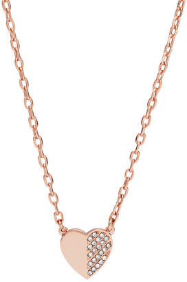 Fossil Heart and Arrow Rose Gold-Tone Brass Necklace