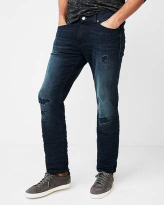 Express Slim Straight Dark Wash Destroyed Stretch Jeans