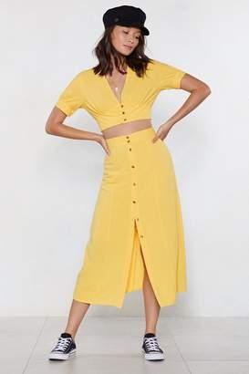 Nasty Gal Always Button in Midi Skirt