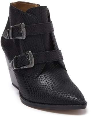 Franco Sarto Granton Snake Embossed Block Heel Bootie