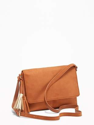 Old Navy Sueded Flap-Front Crossbody Bag for Women
