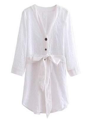 Goodnight Macaroon 'Amie' Broderie Anglaise Waist Tied Shirt Dress