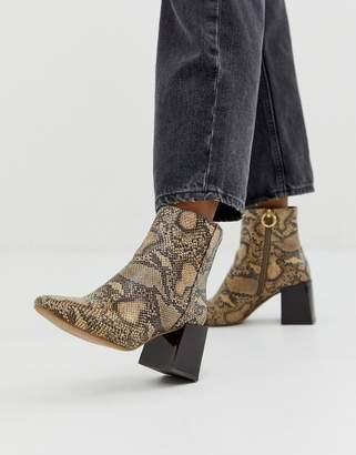 Asos Design DESIGN Reed heeled ankle boots in natural snake
