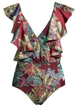 PatBO Samba Ruffle-Strap One-Piece Swimsuit