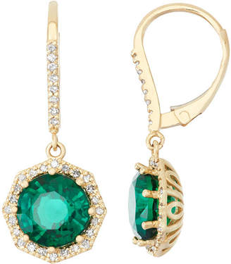 FINE JEWELRY Lab Created Emerald And 1/3C.T. T.W. Diamond 10K Yellow Gold Earrings