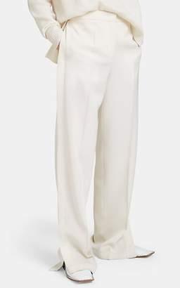 Jil Sander Women's Side-Slit Wool Wide-Leg Pants - Cream