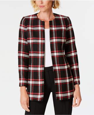 Kasper Plaid Jewel-Neck Jacket
