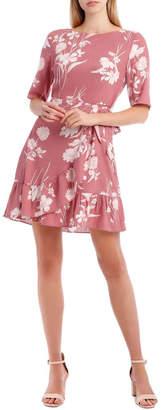 Miss Shop Painted Floral Apron Front Dress
