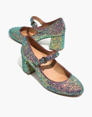 Madewell The Zelda Mary-Jane Pump in Glitter