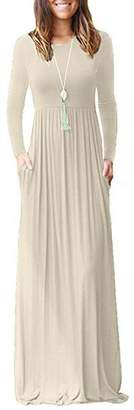Jingying Women Long Sleeve Loose Plain Maxi Dresses Casual Long Dresses with Pockets S